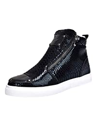yoyoiop Men's Casual Shoes High-Heeled Shoes Personality Sequins Snakeskin Fashion Shoes