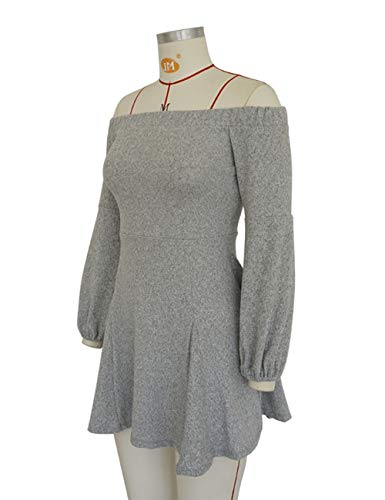 Dress Dress Sexy Swing Casual Long Club Loose Womens Off Grey Shoulder Sleeve 4vxq6q