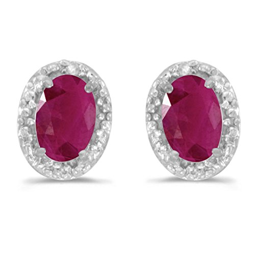 - 14K White Gold Oval Ruby and Diamond Earrings (1ct tgw)