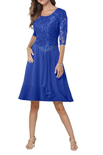 Milano Bride Elegant Damen Chiffon Spitze Brautmutter Kleider Abendkleider Festkleider Lang mit Aermel Royalblau Kurz aBe1g
