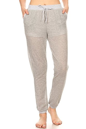 ShoSho Womens Solid Color Loose Fit Jogger Track Pants Mesh All Over Grey Meidum