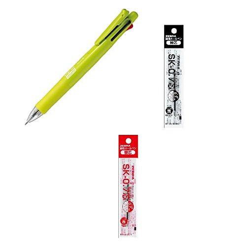 Zebra Clip-On Multi-Functional Pen, Active Green Barrel (B4SA1-ACG), Zebra SK-0.7 0.7mm Refill (Black Ink) & Zebra SK-0.7 0.7mm Refill (Red Ink)