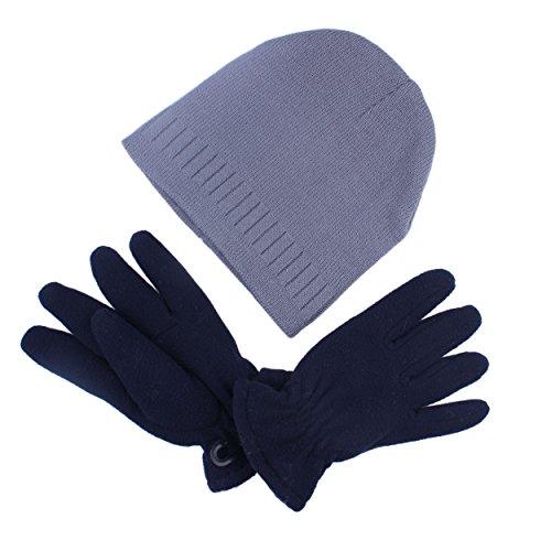 Old Navy Fleece Mittens Hat (kimmyku 2Pcs Children Kids Boy Soft Grey Winter Beanies Hat Cap With Navy Fleece Gloves Mittens Set)