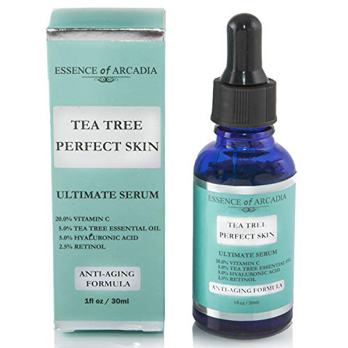 Tea Tree Perfect Skin Facial Serum, Ultimate Anti-Aging Formula for Acne-Prone Skin with 20% Vitamin C, Tea Tree Essential Oil, Retinol and Hyaluronic Acid for Clear, Soft, Radiant Skin. (Best Vitamins For Acne Prone Skin)