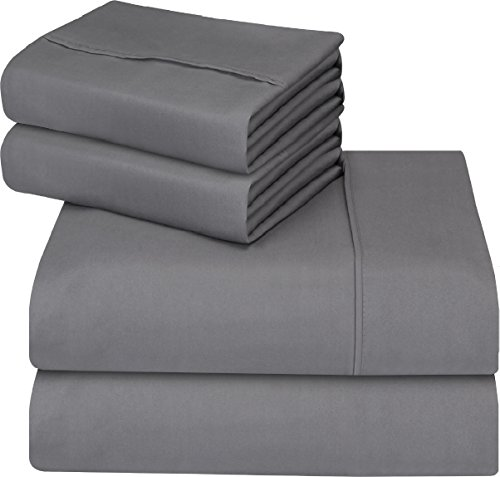 Utopia Bedding 4-Piece Queen Bed Sheet Set - Soft Brushed Microfiber Wrinkle Fade and Stain Resistant - Gray (Bed Set Sheet)