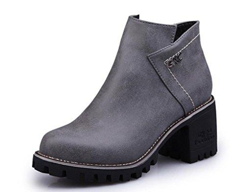 Scarpe YCMDM Donne The New artificiale PU Boots testa rotonda Martin Stivali Tempo libero singoli , grey , 39