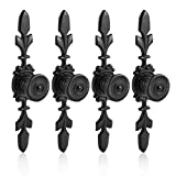 Fdit Pack of 4 Vintage Style Pull Handle Door Knob Back Plate for Home Furniture Drawer Cabinet Dresser Closet Wardrobe Cupboard with Screw(Black)