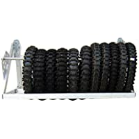 Pit Posse Wall Mount Tires Rack Folding Adjustable Holder Made of Silver Polished Aluminum 4' – Rated 300lbs – Adjustable Bars for Universal Fit – Motorcycle ATV RV Cars