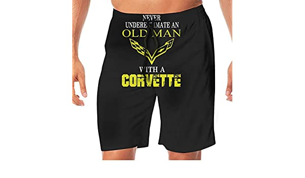 45e0366f11 Amazon.com: Men's Never Underestimate an Old Man with A Corvette Swim  Trunks Beach Pants Board Shorts Summer Slim Fit Ultra Quick Dry: Clothing