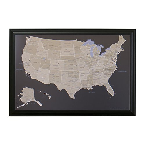 Earth Toned Us Push Pin Travel Map With Black Frame And Pins 24 X 36