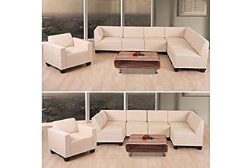 6 1 Sofa Creme Couchgarnitur Couch Sofa Kunstleder Sofagarnitur