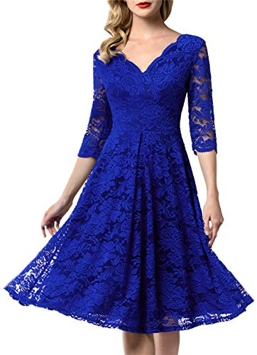 AONOUR 0056 Women's Vintage Floral Lace Bridesmaid Dress 3/4 Sleeve Wedding Party Midi Dress RoyalBlue 2XL