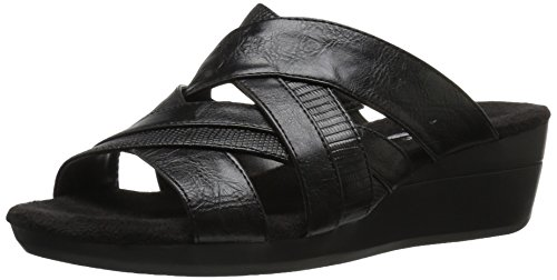 by Women Black Wedge Sandal Flower A2 Lizard Power Aerosoles Rwxpd