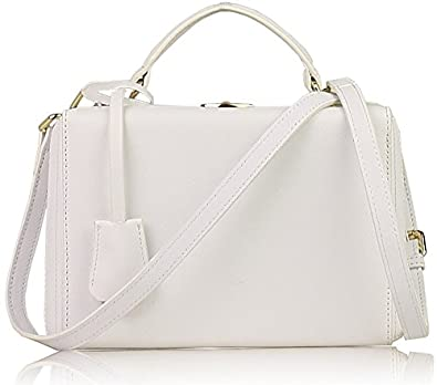 03a94c06b7d2 Lush Leather Train Trunk Box White Bag - Small  Handbags  Amazon.com