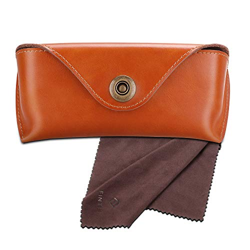 Fintie Portable Sunglasses Case, Semi-Hard Vegan Leather Glasses Carrying Case Eyewear Pouch with Snap Button Closure, Brown
