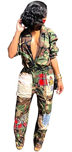 Hotheart Womens Long Sleeve Zipper Camouflage Patchwork Bodycon Sexy Nightclub Party Jumpsuit Rompers
