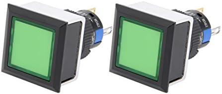 uxcell AC110-220V SPDTラッチング 押しボタンスイッチライト レクタヘッド グリーンライト 2個入り