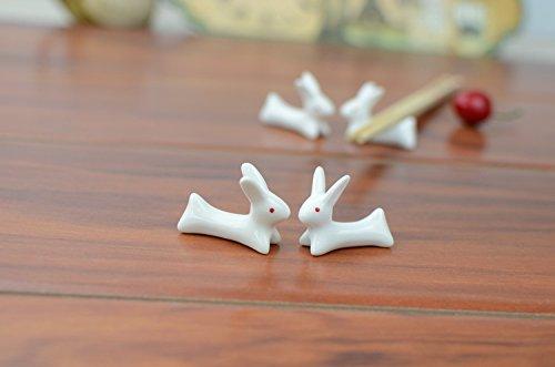 VANCORE 8 Pcs Set Cute Rabbit Ceramic Chopsticks Rest Rack by VANCORE (Image #4)