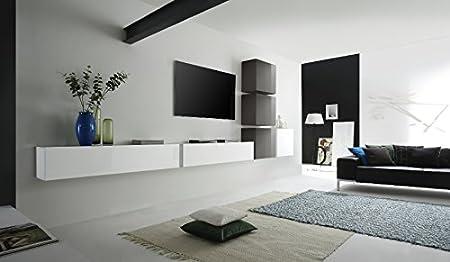 Parete Attrezzata Porta Tv Moderna.Web Convenienza Cube 8 D Biabco Lucido E Antracite Laccato Lucido