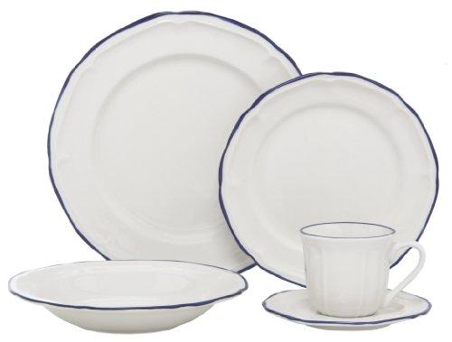 Melange Nouveau Classic Porcelain 20-Piece Place Setting, Blue, Serving for (Blue 20 Piece Place Setting)