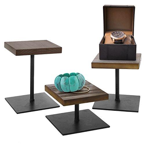 MyGift Rustic Dark Brown Wood Black Metal Various Height Retail Display Risers Stand, Set of 3
