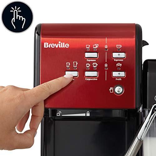 Breville - Prima Latte II machine à café espresso - latte et cappuccino - pompe professionnelle 15 bars et mousseur à lait - rouge