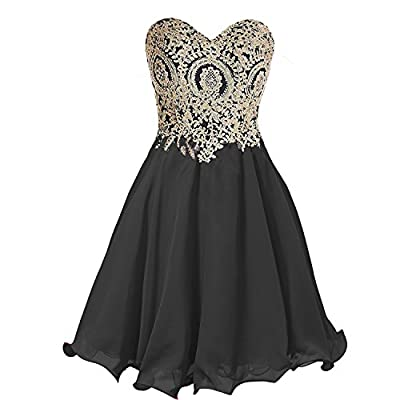 Chiffon A Line Short Crystals Corset Gold Lace Prom Homecoming Dresses