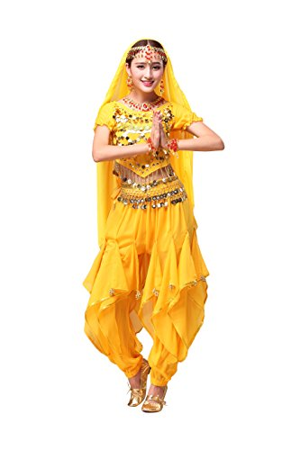 Feimei Woman Exotic Jasmine Belly Dance Costume Set With Halter Top and Harem Pants (Adult Belly Dancer Costume)