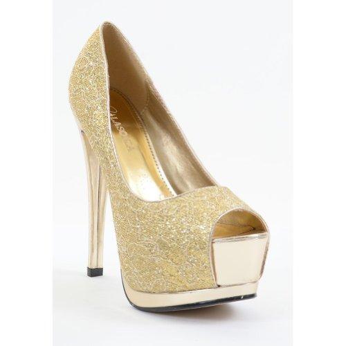 Lace Overlay Glitter Peep Toe Stiletto Platform Pump Gold Le9gdpf