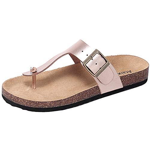 Ataiwee Womens Flat Sandals Comfortable Casual Slip On Flip Flop Thong Sandals Summer Shoes.(1903015 GoldenPU 11)