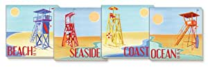 CounterArt Beach Watch Absorbent Coasters, Assorted, Set of 4