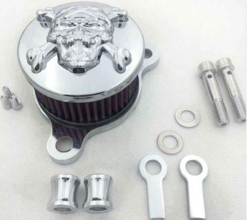 (Motorcycle Air Cleaner Intake Filter System Kit For For Harley-Davidson Sportster 883 1200 (Chrome Skull (D)) )