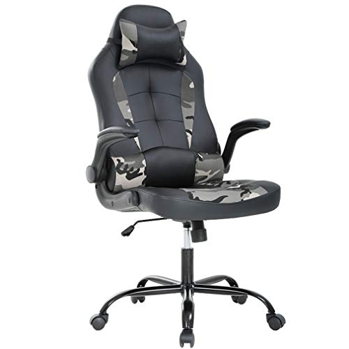 Gaming Chair Racing High-Back PU Leather Office Chair Rolling Swivel Executive Desk Chair with Lumbar Support Adjustable Arms Computer Chair for Back Pain(Camo) BestMassage