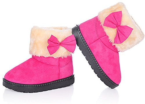 Baby Girls Bowknot Winter Snow Boots (Pink) - 5