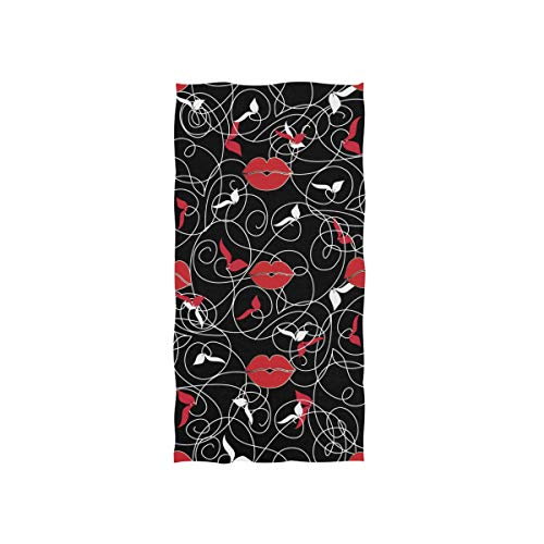 Naanle Modern Black Floral Print Leaves Woman Red Lip Pattern Vintage Decorative Line Art Ornament Soft Bath Towel Absorbent Hand Towels Multipurpose for Bathroom Hotel Gym and Spa 30