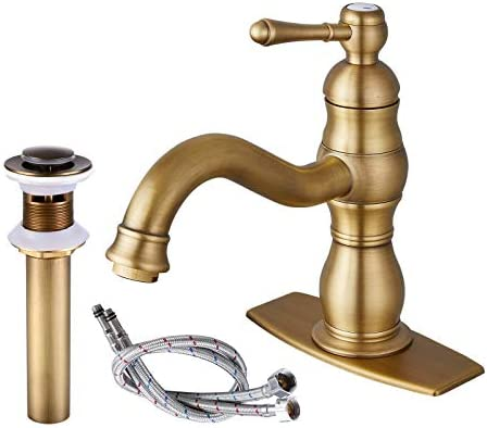 gotonovo Antique Brass Bathroom Sink Faucet Single Handle Lavatory Vanity One Hole Mixer Deck Mount Tap with Pop Up Drain Lavatory Commercial Lead-Free