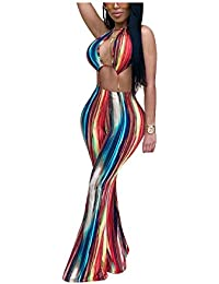 ed5bb7c8bfe4 Sexy Women Rainbow Stripe Bandage Backless High Waist Long Pants Ladies  Halter Jumpsuits Romper Clubwear Outfits