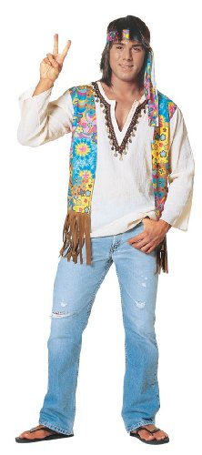 Original Hippie Dude 60s Costume for Men (flip flops, head band and jeans not included)