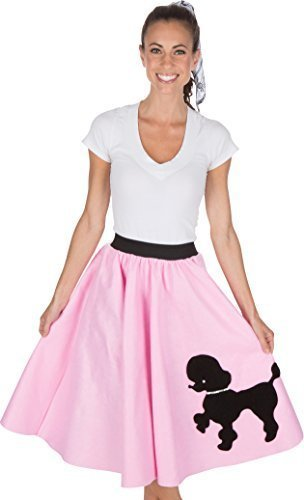 Adult Poodle Skirt with Musical Note printed Scarf Light Pink by Kidcostumes