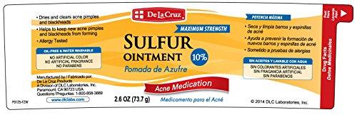 De La Cruz 10% Sulfur Ointment Acne Medication, Allergy-tested, No  Preservatives, Fragrances or