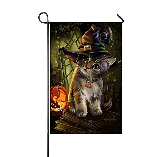 Cyril65Sincr Garden Flag Halloween Wear Magic Hat Cat Light Pumpkin Home Decoration Weather Resistant & Double Sided Flag 28