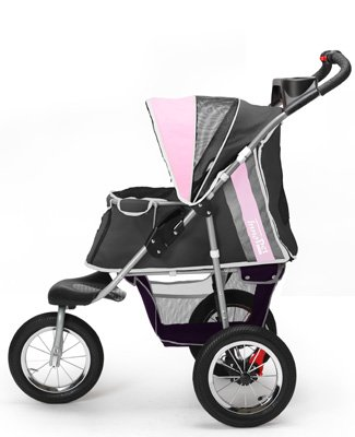 Pet Stroller,IPS-040,Grey/Pink/Lila, Dog Carrier, Trolley, Trailer, Innopet, Buggy Comfort with Airfilled Tyres. Foldable pet Buggy, Pushchair, pram for Dogs and Cats