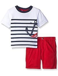 Baby Boys' 2 Piece Anchor Stripe Tee Shirt Set