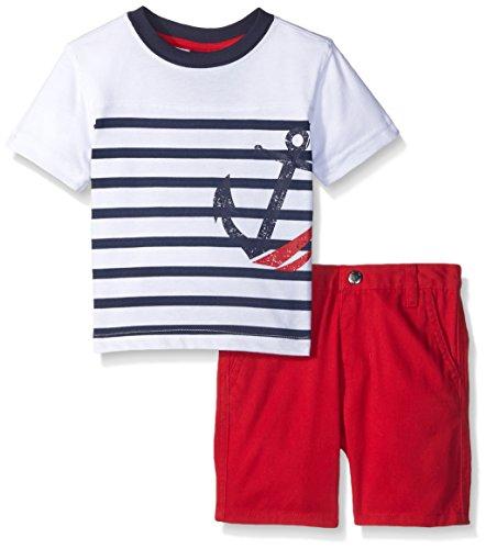 Nautica Baby 2 Piece Anchor Stripe Tee Shirt Set, White, 3/6 -