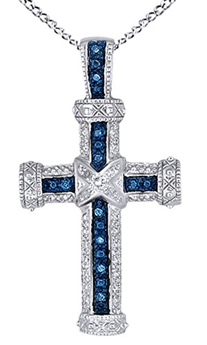 AFFY White & Blue Natural Diamond Cross Pendant Necklace In 14k White Gold Over Sterling Silver (0.1 Cttw) 0.1 Ct Princess Diamond