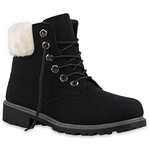Stiefelparadies Unisex Worker Boots Herren Damen Stiefeletten Warm Gefütterte Stiefel Zipper Outdoor Schuhe Camouflage Booties Übergrößen Flandell Schwarz Grau