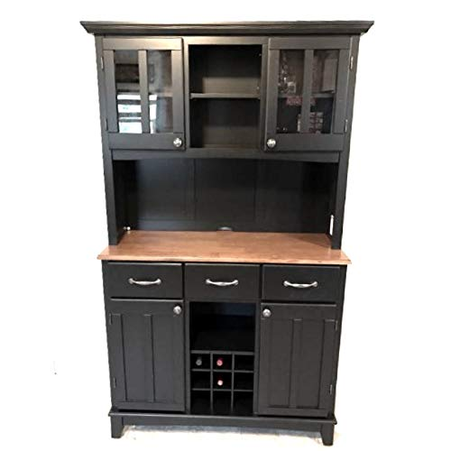 - ghy Farmhouse Buffet Cabinet Hardwood Black Cottage Oak Wood Top Hutch Adjustable Shelf Drawers Wine Rack Kitchen Dining Room Traditional & eBook by JEFSHOP