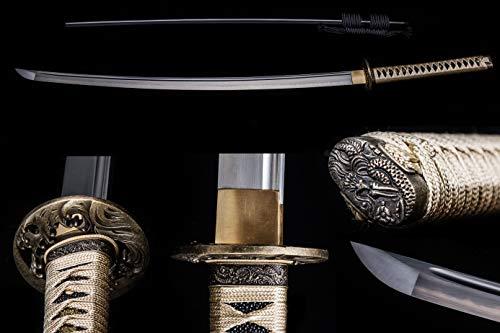 Full Handmade Sharp Katana Sword, 1060/1095(High Carbon Steel)/Damascus Steel , Full Tang Blade, Sharp Knife, real battle swords, Ninja Katana sword, Alloy Tsuba,Solid wood handle,Suitable for ou