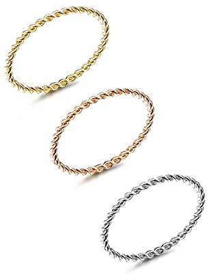 LOYALLOOK 3pcs Stainless Steel Tri-Color 1.5mm Twist Stacking Ring Set Knuckle Midi Rings