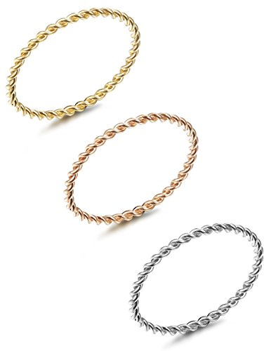 LOYALLOOK 3pcs Stainless Steel Tri-Color 1.5mm Twist Stacking Ring Set Knuckle Midi Rings 8# (Stacking Ring)